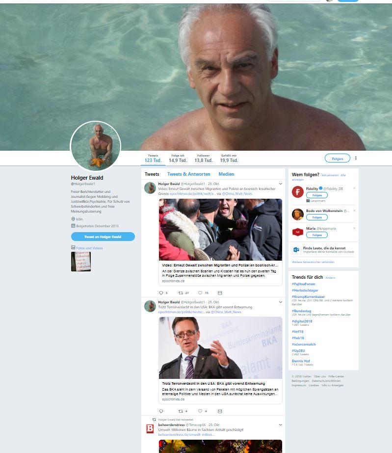 """Holger Ewald ist ein Bot auf Twitter, der vermutlich von jemandem programmiert wurde, damit """"Holger"""" ein rechtes, politisches Weltbild verbreitet."""